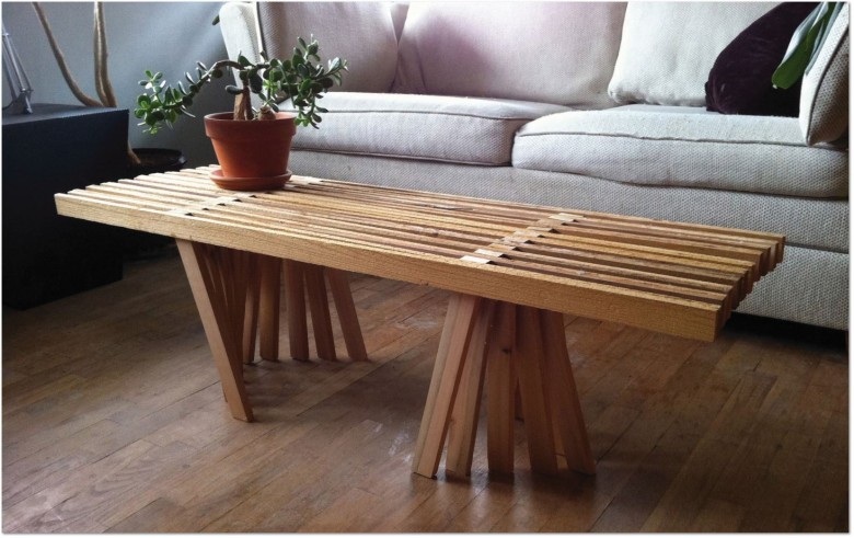 wood strips table by Hal Tangen