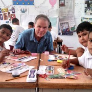 Bruce with students in Mexico, la Mariposa