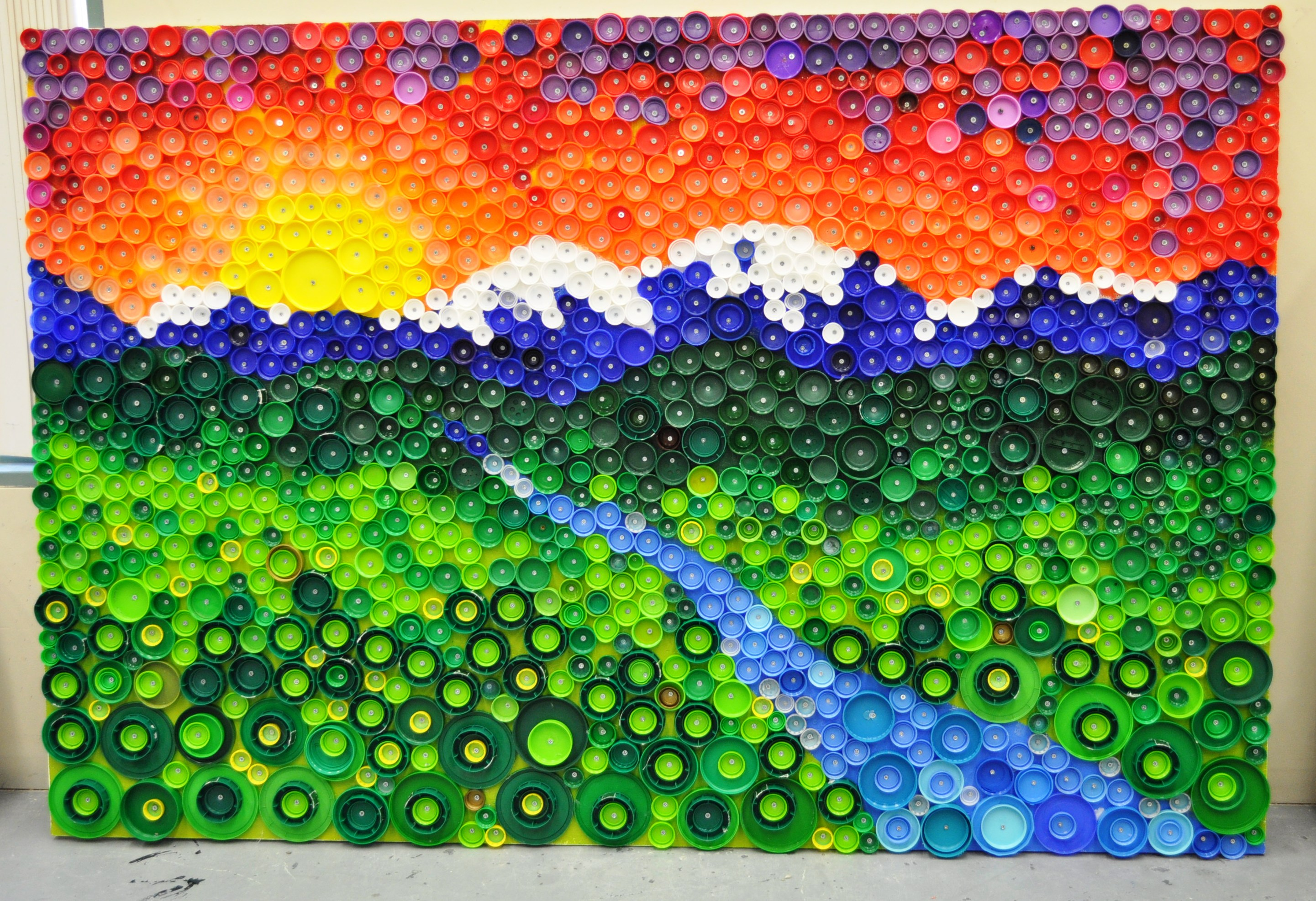 Methow valley sunset bottle cap mural methow arts for Bottle top art projects