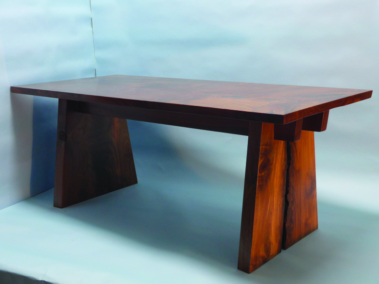 Coffee table using homestead tree walnut slabs.  Photo Rick Swanson