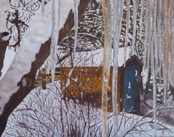 WG.Garden Shed With Icicles by Susan Donahue